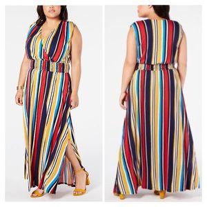 0X 2X 3X INC Colorful Striped Surplice Maxi Dress